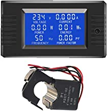 AUTENS AC Digital Meter AC 80-260V 100A Current Voltage Power Energy Panel Monitor (AC 100A Meter with Split Core CT)