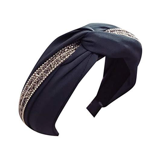 YWLINK Damen Rockabilly Stirnband Schleife Retro Elegant Diamant Glänzend Frauen Haarband Bow Knot Rockabilly Kreuz Krawatte Samt Schminken ZubehöR