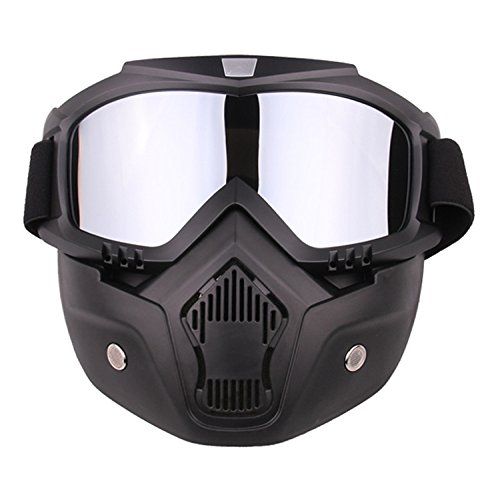 Freehawk Motorcycle Goggles Mask Detachable, Airsoft Safety Goggles Mask, Road Riding UV Motorbike Glasses with Dustproof Mask, Cool Helmet Glasses Windproof (Silver)