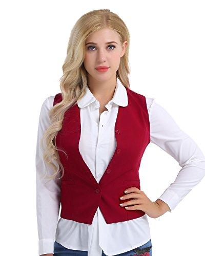 TiaoBug Damen Weste Anzugweste in rot, schwarz ärmellose taillenlange Jacke Basic Klassisch Modisch Business Westen Business Outfits Oberteil S-XXL Rot M