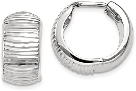 14K White Gold Textured and Polished 17mm Hinged Hoop Earrings