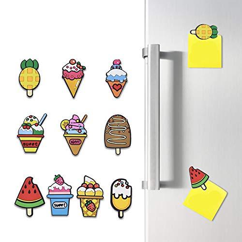 Ldawy Magneti per Il frigo, 10 Pezzi di magneti per Gelato 3D per Cartoni Animati Magneti potenti per bacheca, bacheca, Frigorifero, Magnete per Foto