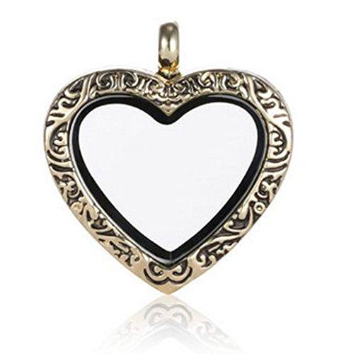 ANDANTE Gold Kettenanhänger für Floating Charms Schwebende Medaillons Herz mit Magnetverschluss + Organzasäckchen