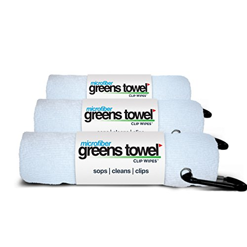 Greens Towel 3 Pack White | Convenient Microfiber Golf Towels with Clip (Pure White)