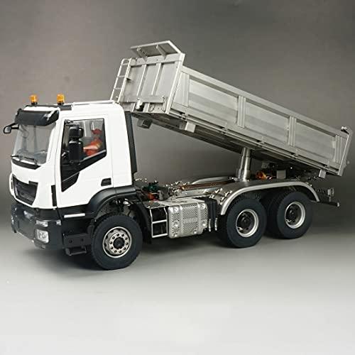 Loads Camión teledirigido para Tamiya Iveco, escala 1:14, 3 canales, modelo de camión hidráulico de metal, 6 x 6 grandes, vehículo de ingeniería radiocontrol para niños y adultos, color azul en spray
