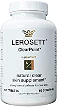 ClearPoint Best Acne Vitamin Supplements for Teens & Adults | Clears Hormonal & Cystic Acne, Breakouts, Pimples, Oily Skin | 120 Vegan Capsules by LEROSETT Since 1987 Made in The USA