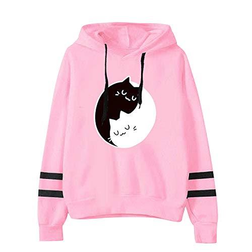 Sudaderas con capucha para mujer y niña, con diseño de gato impreso de manga larga, suéter de manga larga (opción de 6 colores)