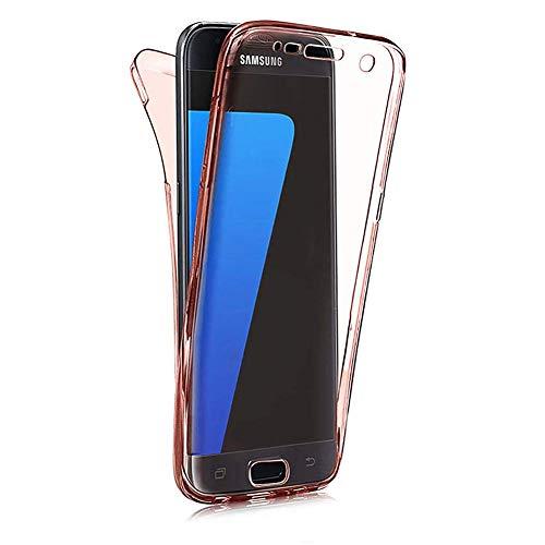 Karomenic 360 Grad Silikon Hülle kompatibel mit Samsung Galaxy A3 2016 Fullbody Case Komplettschutz Handyhülle Vorne & Hinten Rundum Schutzhülle Ganzkörper Dünn Durchsichtige Bumper Etui,Roségold
