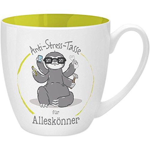 Gruss & Co 45513 Anti-Stress Tasse für Alleskönner, 45 cl, Geschenk, New Bone China, Gelb, 9.5 cm