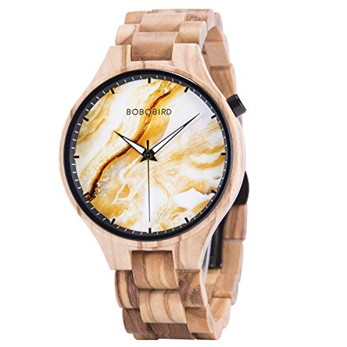BOBO BIRD Mens Wooden Marbling Dial Wristwatches Adjustable Wood Band Fashion Casual Watch with Luminous Hands for Father's Day (Wheat Field)