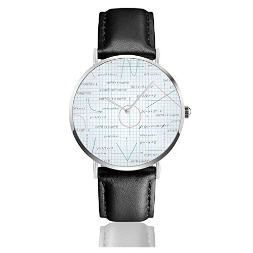 Mathematik Papier Hintergrund Lederarmband Armbanduhren Casual Classic Edelstahl Quarz Business Watch
