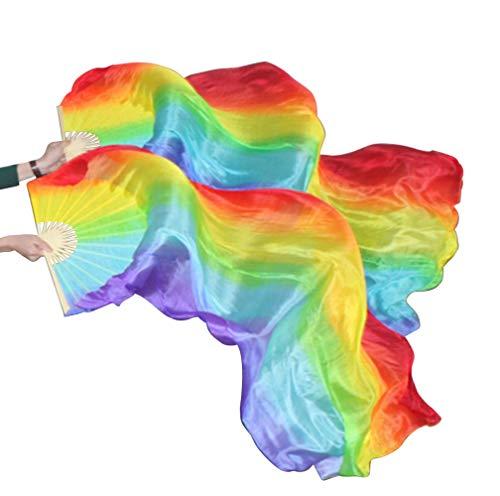 KIKIGOAL 1 Pair(Left+Right) Women Real Silk Belly Dance Fan Veil, Length 180cm Width 90cm (Colorful)
