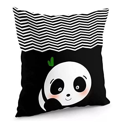 Fundas de almohada 45,7 x 45,7 cm, diseño de panda, color negro