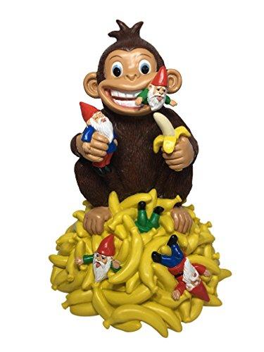 GlitZGlam Scimmia Gnomo da Giardino con Banane - Statuetta di 27,9 cm d'Altezza per Il Vostro Giardino fatato