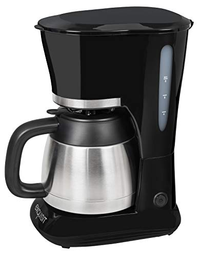 Exquisit KA 6501 sw | Kaffeeautomat | 800 Watt | Filterkaffeemaschine | Thermoskanne | Tropfstopp | Kaffeemaschine Edelstahl | schwarz