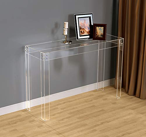 (Flat Packed) Transparent V-Legs Acrylic Hallway Desk,Lucite Console/Writing Table -120W 40D 80H cm
