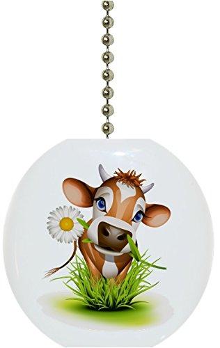 Carolina Hardware and Decor 1945F Cow in Grass Farm Animal Solid Ceramic Fan Pull