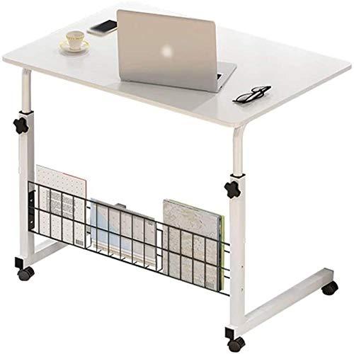 JWCN Roller Moving Lift Table Einfacher Computertisch Klappbetttisch Kleiner einfacher fauler Tisch (Farbe: Elfenbeinweiß Größe: 60x40cm)-Elfenbeinweiß_60x40cm Uptodate