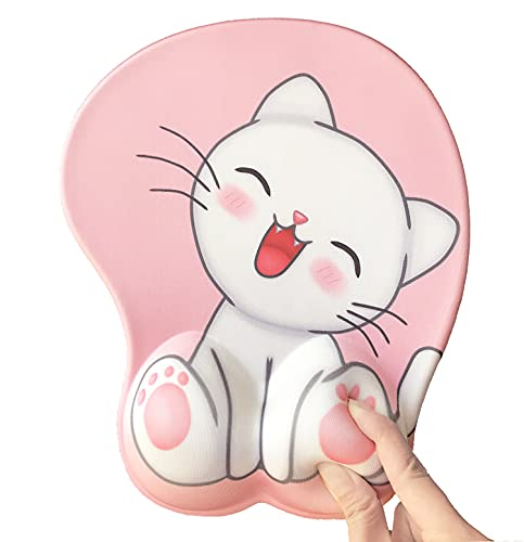 3D mouse pad with ergonomic wrist rest support, non-slip gel anime Kawaii cute pink mouse pads, wrist pads, pain relief, and easy typing, gaming, notebook computer home office work and study(Cat-pink)