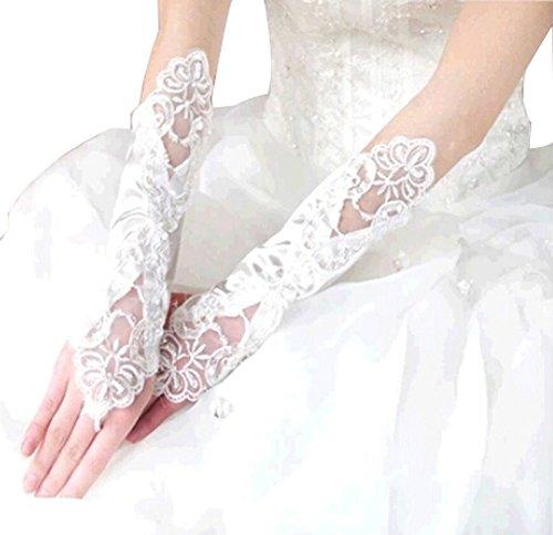 Les mariée Mariage Fils Robe en dentelle Gants longs gants de mariage Mitten Bla