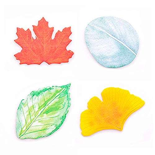 ERCENTURY Creative Sticky Notes in 4 Leaf-Shaped Designs (30 Sheets per Shape, 120 Sheets in Total)