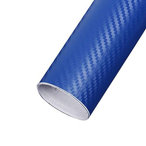 Blackr 3D Carbon Fiber Vinyl Film High Gloss Car Wrap Roll Self Adhesive Sticker Decal Sheet Blue 200x30cm