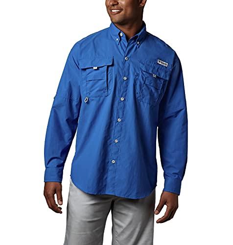 Columbia Camisa de Manga Larga Bahama II para Hombre, Hombre, Bahama II - Camisa de Manga Larga, 1011623, Azul Intenso, X-Large Alto