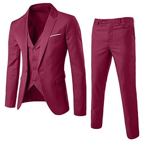 STRIR Traje Suit Hombre 3 Piezas Chaqueta Chaleco pantalón Traje al Estilo Occidental - Traje de 3 Piezas con Chaqueta, Chaleco y Pantalones, Hombre,Ajuste Moderno