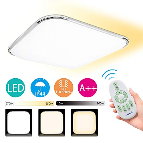 Hengda 12W LED Deckenleuchte Leuchten mit Fernbedienung, Badezimmerlampe dimmbar, Farbtemperatursteuerung, 1080 lm,