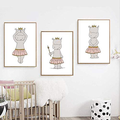 Hippo Ballerina Prinzessinnen Cartoon Leinwand Kunst Poster Kinderzimmer Druck Leinwand Malerei Wandbild Nordic Kids Schlafzimmer Dekoration
