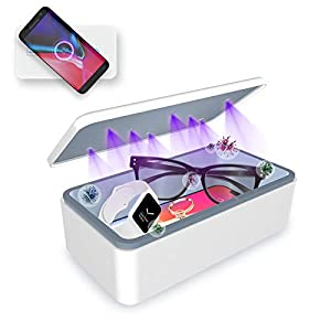 Cahot Fast UV Light Sanitizer Box , Portable Phone UVC Light Sanitizer with Extra Rack, Wireless Charging for Smart Phone, Deep UV Sterilizing Box for Cell Phone, Watches, Jewelry, Glasses by