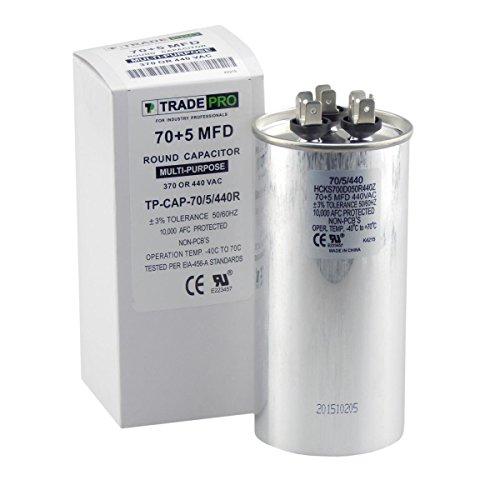 TradePro 70 + 5 mfd Capacitor 440/370 Volt Round Run Capacitor Replacement 70/5