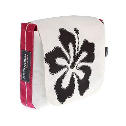 Messenger Bag CANVASCO Mini/Tasche weiß/Gurt pink-weiß/Motiv Hibiskus schwarz