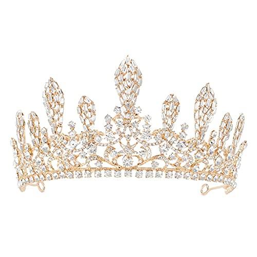 Piedra reina cristalino del oro Rhinestone de la corona tiara de la boda de la Mujer del traje nupcial accesorios for el cabello velo de novia TSYGHP