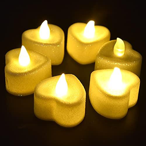 Luz de vela GAESHOW 6 uds luces LED de té con forma de amor lámpara de vela de luz cálida con pilas para iluminación decorativa decoración de mesa de boda