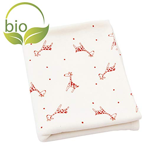 ByBoom® - BIO Couverture bébé, couverture câlin, couverture premier-né, couverture d'été, 70x100 cm, 100% COTON BIO, Colour:Naturel - Girafe