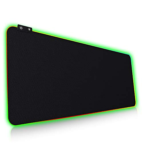Large RGB Gaming Mouse Pad-Soft Non-Slip Rubber Base Led Mouse Pad, Thick Computer Keyboard and Mouse Pad for MacBook, Pc, Laptop and Desktop (31.5 X 11.8 X 0.15 Inches)