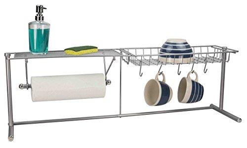 Home Basics over the Sink Stainless Steel Kitchen Station Dish Rack Paper Towel Dispenser Organizer
