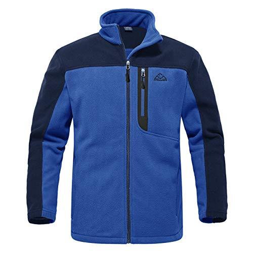 YSENTO Herren Outdoor Fleecejacke Full Zip Winddicht Leicht Atmungsaktiv Warme Polar Angeln Arbeit Wander Jacke mit Reißverschlusstaschen(Blau,XXL)