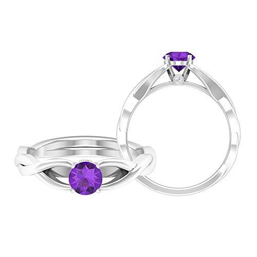 Anillo de compromiso de diamantes HI-SI, de 5 mm, de topacio azul cielo, anillo de boda cruzado (calidad AAA), 14K White Gold, Sky Blue Topaz, Size:US 54