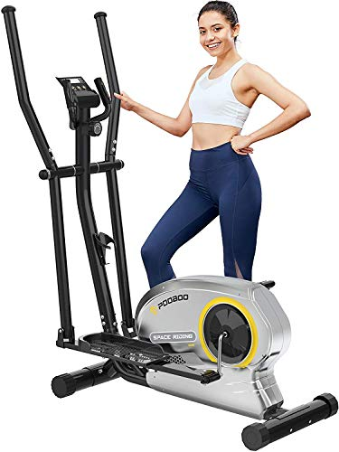 pooboo Elliptical Trainer Magnetic Elliptical Machines for Home Use Portable Elliptical Trainer with Pulse Rate and LCD Monitor (Rose dust)