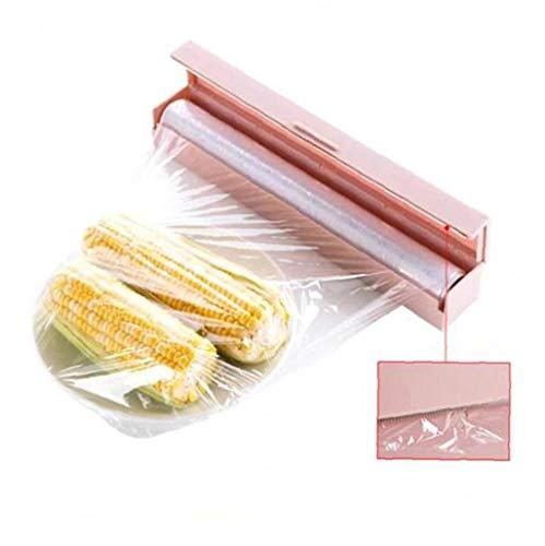 Heall 1PC Envoltorio de plástico Cortador Abrigo del alimento dispensador Reutilizable de la película de Corte de láminas y Papel de Cera Cling Wrap Accesorios de Cocina (Rosa)