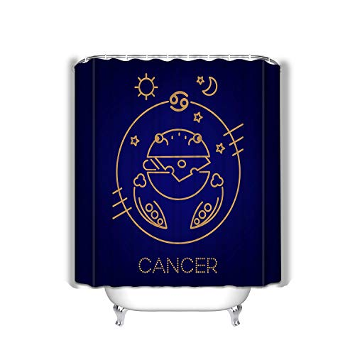 "Xunulyn Shower Curtain Marriage Gifts for Men and Women in Art Print Polyester Fabric 60""x72\"" Cancer Zodiac Sign Logo Food Horoscope Kids Cancer zo"
