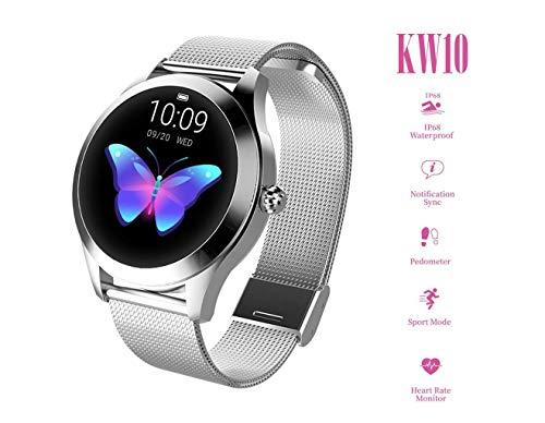 Reloj redondo IP68 a prueba de agua con pantalla táctil inteligente for las mujeres, Smart Watch KW10, perseguidor de la aptitud con la frecuencia cardíaca y dormir pulsera podómetro for iOS/Android