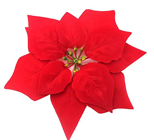 WEKNOWU 12 Pack Artificial Christmas Flowers Decoration Red Poinsettia Realistic Silk Floral Head Christmas Tree Ornaments Dia 8 Inch