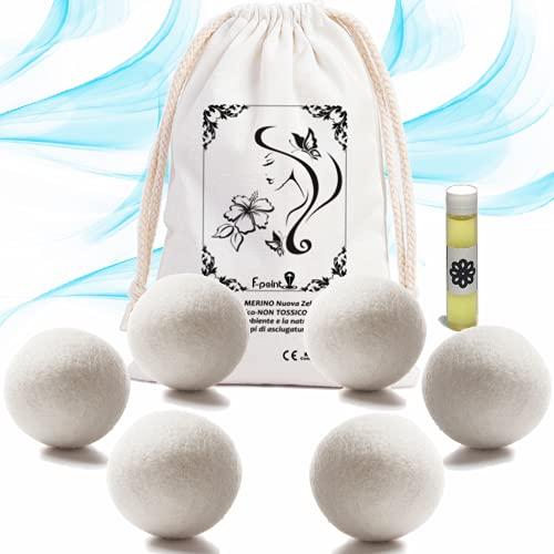 f-point NOVITA' [6pcs] Palline asciugatrice profumate riutilizzabili + [1pcs] olio essenziale per asciugatrice-Palle lana asciugatrice con Funzione ammorbidente/igienizzante