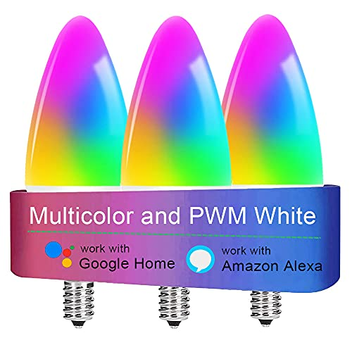 LED Candelabra Bulbs E12 Base, Color Changing and Dimmable Smart Light Bulb, Compatible with Alexa Google Home, Tunable White Chandelier Light Bulbs 320 lm 35w Equivalent, 3 Pack