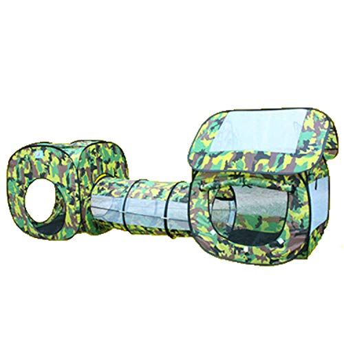 Tents 3 in1 play, tunnels, ball pools, Camouflage outdoor Play house for boy - Camping Lightweight portable house (Color : Camouflage, Size : 70 * 230 * 85CM)