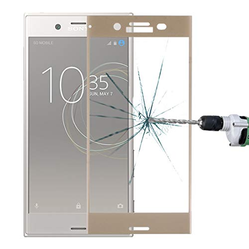 ZHAODONG Moblie For sony Xperia XZ Premium 0.33mm 9H Surface Hardness 3D Silk-screen Full Screen Tempered Glass Screen Protector(Black) (Color : Gold)