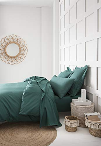 Today Duvet Cover 140 x 200 cm, 100% Cotton 57 Yarn, Green Emerald